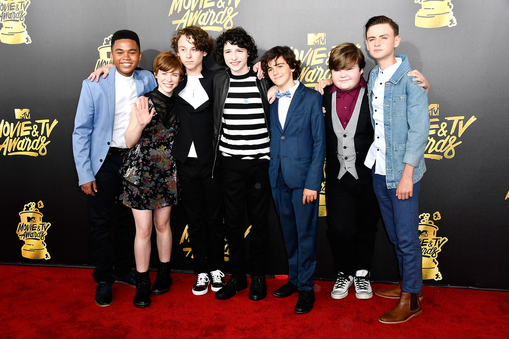 . LOS ANGELES, CA - MAY 07: (L-R) Actors Chosen Jacobs, Sophia Lillis, Wyatt Oleff, Finn Wolfhard, Jack Dylan Grazer, Jeremy Ray Taylor and Jaeden Lieberher attend the 2017 MTV Movie And TV Awards at The Shrine Auditorium on May 7, 2017 in Los Angeles, California.  (Photo by Frazer Harrison/Getty Images)