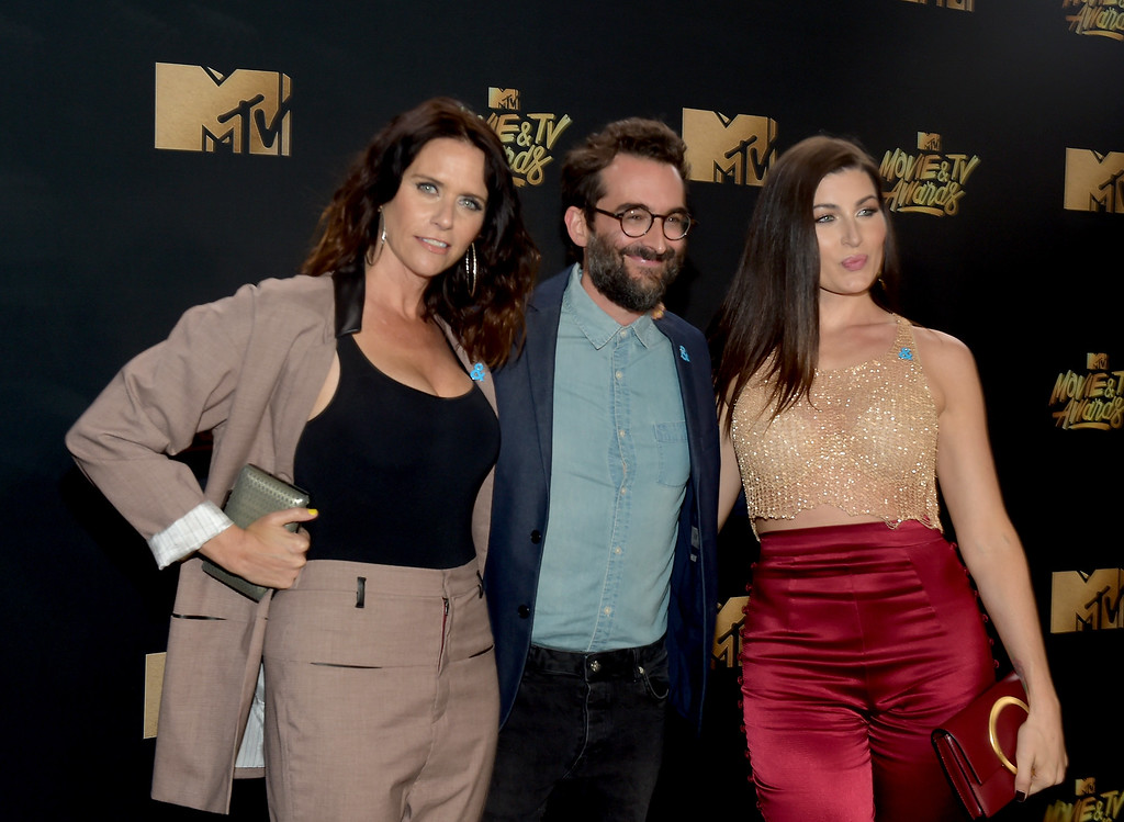 . LOS ANGELES, CA - MAY 07:  (L-R)  Actors Amy Landecker, Jay Duplass and Trace Lysette attend the 2017 MTV Movie And TV Awards at The Shrine Auditorium on May 7, 2017 in Los Angeles, California.  (Photo by Matt Winkelmeyer/Getty Images)