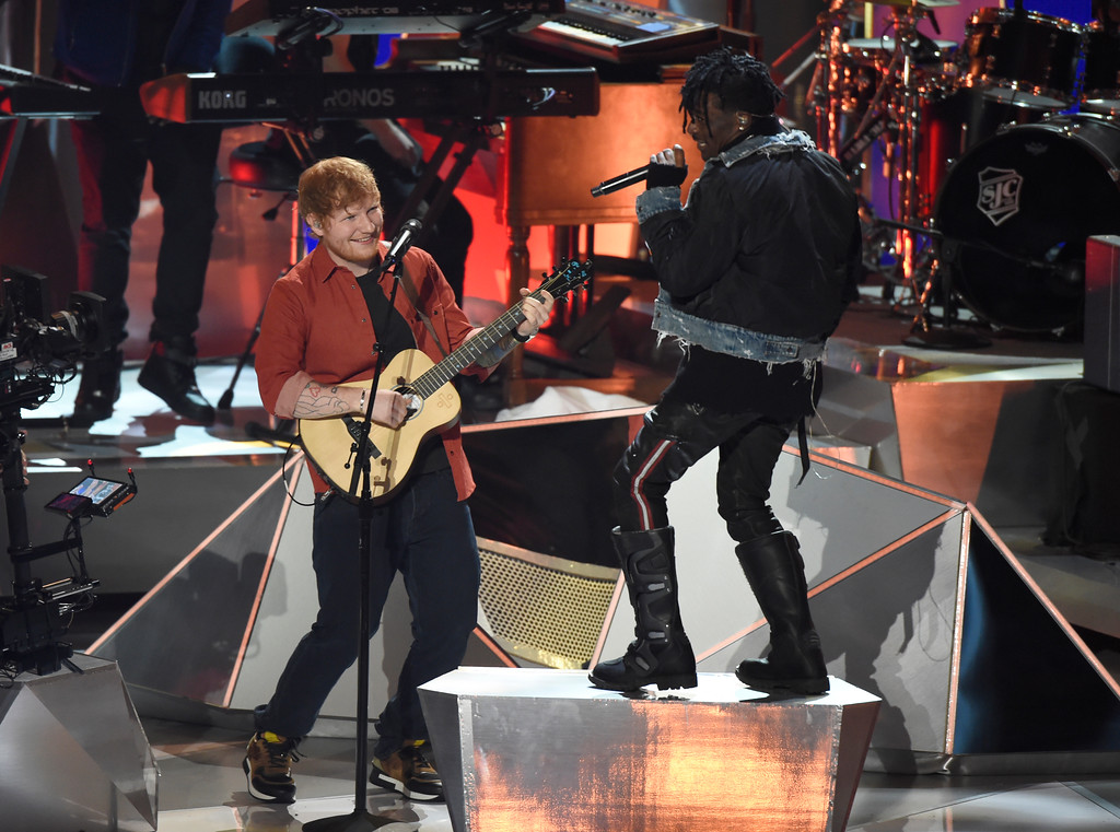 . Ed Sheeran, left, and Lil Uzi Vert perform a medley at the MTV Video Music Awards at The Forum on Sunday, Aug. 27, 2017, in Inglewood, Calif. (Photo by Chris Pizzello/Invision/AP)