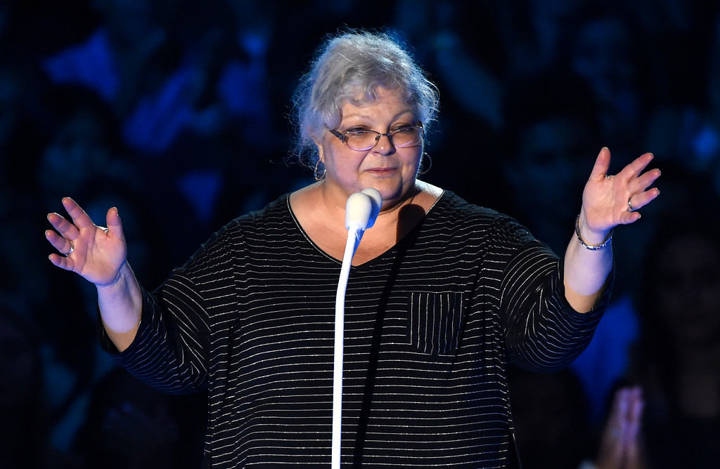 . Susan Bro, mother of Heather Heyer, speaks at the MTV Video Music Awards at The Forum on Sunday, Aug. 27, 2017, in Inglewood, Calif. Heyer was killed in Charlottesville, Va., after a car crashed into demonstrators protesting a white supremacy rally. (Photo by Chris Pizzello/Invision/AP)