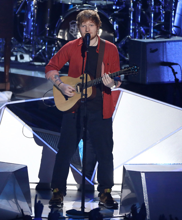. Ed Sheeran performs at the MTV Video Music Awards at The Forum on Sunday, Aug. 27, 2017, in Inglewood, Calif. (Photo by Matt Sayles/Invision/AP)