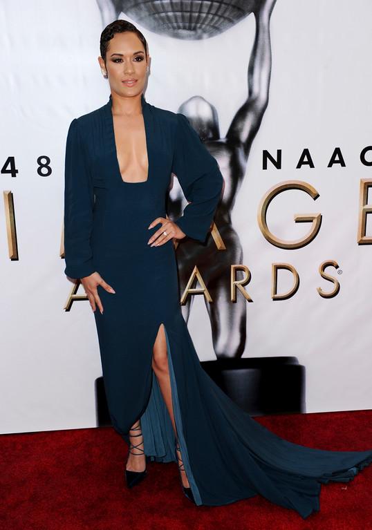 . Grace Byers arrives at the 48th annual NAACP Image Awards at the Pasadena Civic Auditorium on Saturday, Feb. 11, 2017, in Pasadena, Calif. (Photo by Richard Shotwell/Invision/AP)