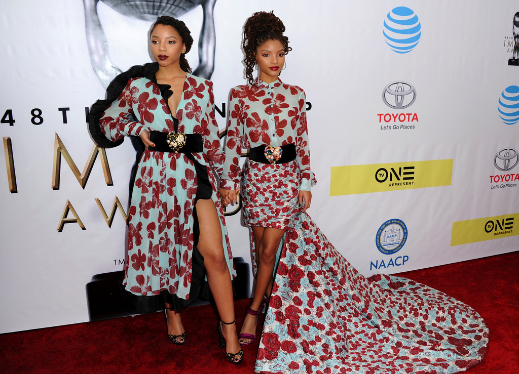 . Halle Bailey, left, and Chloe Bailey of Chloe x Halle arrive at the 48th annual NAACP Image Awards at the Pasadena Civic Auditorium on Saturday, Feb. 11, 2017, in Pasadena, Calif. (Photo by Richard Shotwell/Invision/AP)