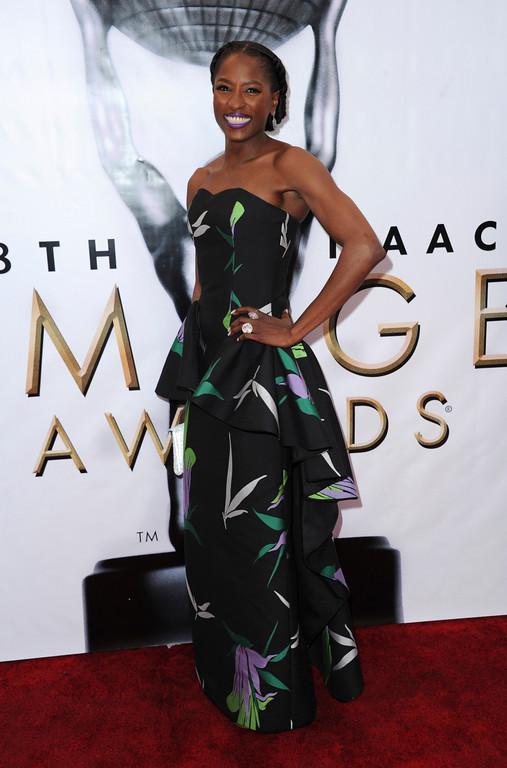 . Rutina Wesley arrives at the 48th annual NAACP Image Awards at the Pasadena Civic Auditorium on Saturday, Feb. 11, 2017, in Pasadena, Calif. (Photo by Richard Shotwell/Invision/AP)