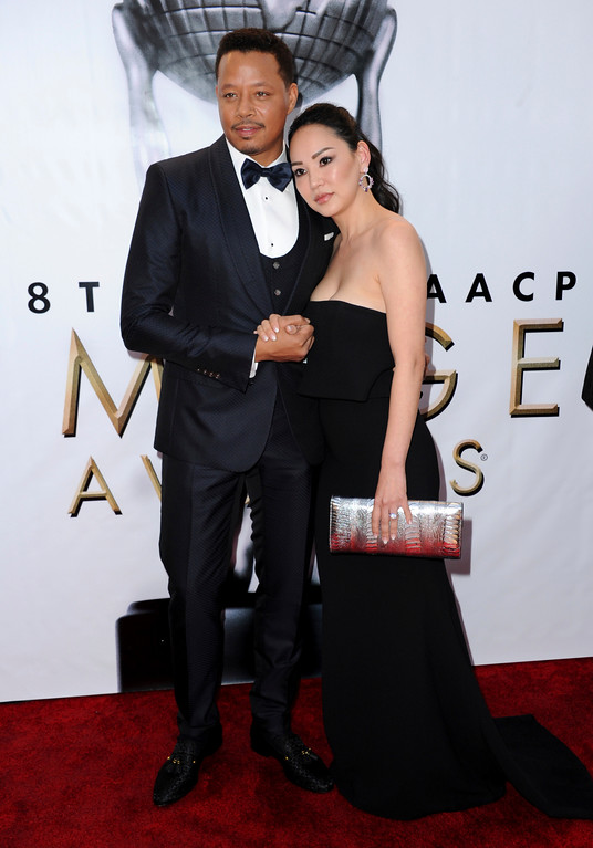 . Terrence Howard, left, and Mira Pak arrive at the 48th annual NAACP Image Awards at the Pasadena Civic Auditorium on Saturday, Feb. 11, 2017, in Pasadena, Calif. (Photo by Richard Shotwell/Invision/AP)