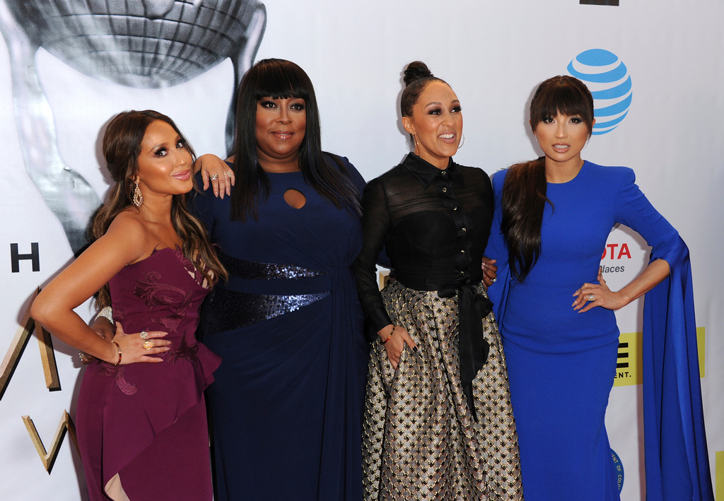 . Adrienne Bailon, from left, Loni Love, Tamera Mowry, and Jeannie Mai arrive at the 48th annual NAACP Image Awards at the Pasadena Civic Auditorium on Saturday, Feb. 11, 2017, in Pasadena, Calif. (Photo by Richard Shotwell/Invision/AP)