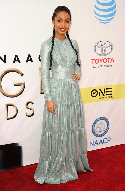 . Yara Shahidi arrives at the 48th annual NAACP Image Awards at the Pasadena Civic Auditorium on Saturday, Feb. 11, 2017, in Pasadena, Calif. (Photo by Richard Shotwell/Invision/AP)