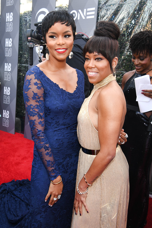. PASADENA, CA - FEBRUARY 11:  Singer LeToya Luckett and actress Regina King attend the 48th NAACP Image Awards at Pasadena Civic Auditorium on February 11, 2017 in Pasadena, California.  (Photo by Paras Griffin/Getty Images )