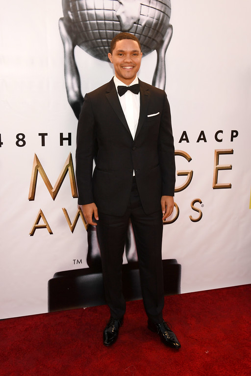 . PASADENA, CA - FEBRUARY 11:  TV Personality Trevor Noah attends the 48th NAACP Image Awards at Pasadena Civic Auditorium on February 11, 2017 in Pasadena, California.  (Photo by Paras Griffin/Getty Images )