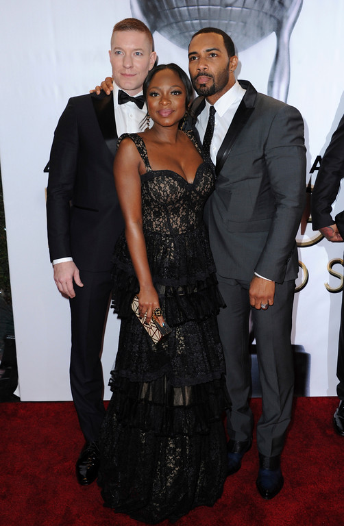 . Joseph Sikora, from left, Naturi Naughton and Omari Hardwick arrive at the 48th annual NAACP Image Awards at the Pasadena Civic Auditorium on Saturday, Feb. 11, 2017, in Pasadena, Calif. (Photo by Richard Shotwell/Invision/AP)