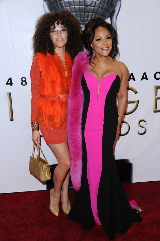 . Grace Gibson, left, and Lynn Whitfield arrive at the 48th annual NAACP Image Awards at the Pasadena Civic Auditorium on Saturday, Feb. 11, 2017, in Pasadena, Calif. (Photo by Richard Shotwell/Invision/AP)