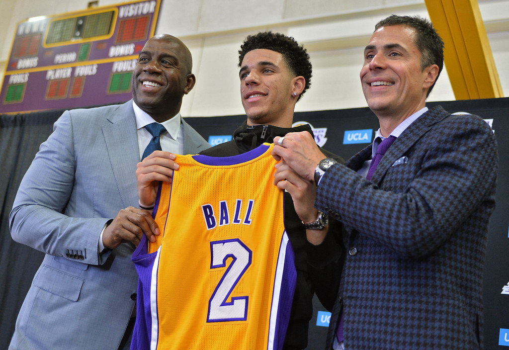 . ... Lakers legend Magic Johnson told the second pick in the 2017 NBA draft he expected a career worthy of retiring Ball�s number next to his. (Photo By  Robert Casillas, Daily Breeze/SCNG)