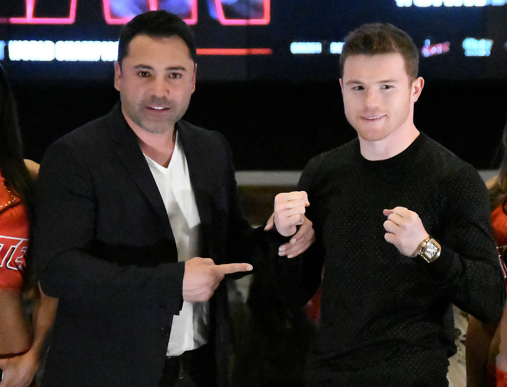. ... De La Hoya is betting heavily on himself and his headline fighter Canelo Alvarez. Both have a great deal on the line in Canelo�s Sept. 16 mega-fight versus Gennady Golovkin.  (Photo by Gene Blevins, Los Angeles Daily News/SCNG)