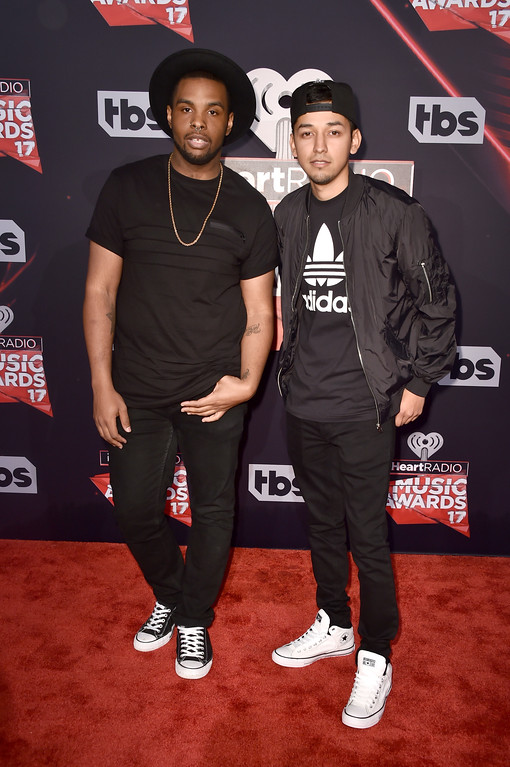 . INGLEWOOD, CA - MARCH 05:  Diego Montana (L) and David Delgado attend the 2017 iHeartRadio Music Awards which broadcast live on Turner\'s TBS, TNT, and truTV at The Forum on March 5, 2017 in Inglewood, California.  (Photo by Alberto E. Rodriguez/Getty Images)
