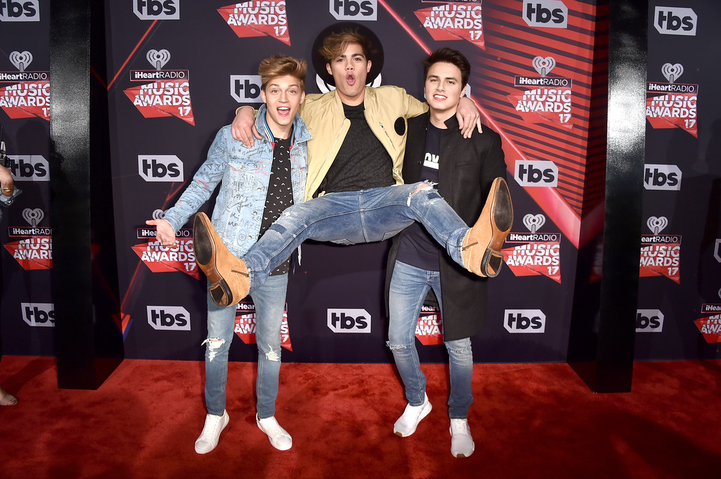 . INGLEWOOD, CA - MARCH 05:  (L-R) Musicians Liam Attridge, Ricky Garcia and Emery Kelly of music group Forever in Your Mind attend the 2017 iHeartRadio Music Awards which broadcast live on Turner\'s TBS, TNT, and truTV at The Forum on March 5, 2017 in Inglewood, California.  (Photo by Alberto E. Rodriguez/Getty Images)