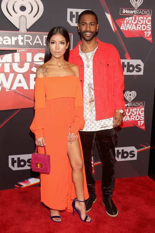. INGLEWOOD, CA - MARCH 05:  Singer Jhene Aiko (L) and rapper Big Sean attend the 2017 iHeartRadio Music Awards which broadcast live on Turner\'s TBS, TNT, and truTV at The Forum on March 5, 2017 in Inglewood, California.  (Photo by Jesse Grant/Getty Images for iHeartMedia)