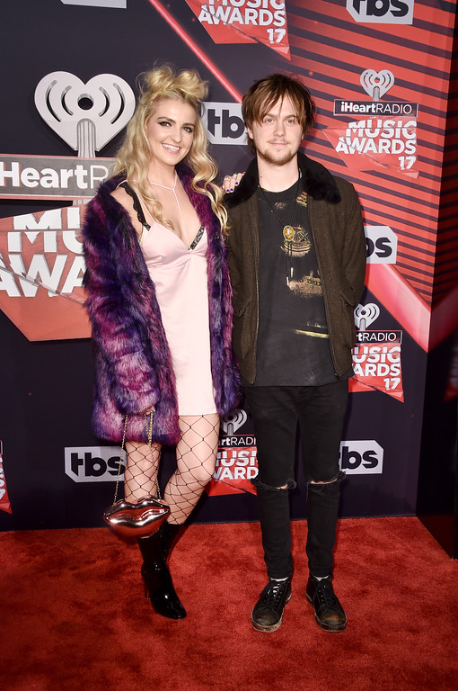 . INGLEWOOD, CA - MARCH 05:  Actress Rydel Lynch (L) and Drummer Ellington Ratliff attend the 2017 iHeartRadio Music Awards which broadcast live on Turner\'s TBS, TNT, and truTV at The Forum on March 5, 2017 in Inglewood, California.  (Photo by Alberto E. Rodriguez/Getty Images)