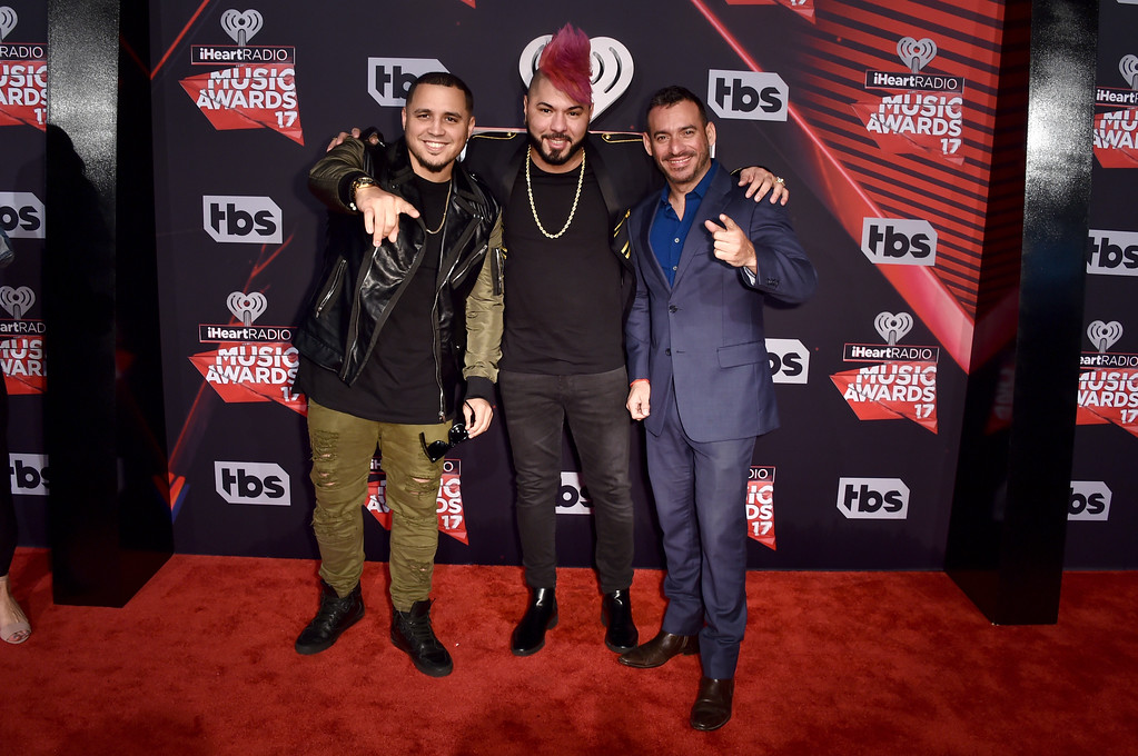 . INGLEWOOD, CA - MARCH 05:  (L-R) DJ\'s IAmChino, Chacal and Jorge Gomez attend the 2017 iHeartRadio Music Awards which broadcast live on Turner\'s TBS, TNT, and truTV at The Forum on March 5, 2017 in Inglewood, California.  (Photo by Alberto E. Rodriguez/Getty Images)