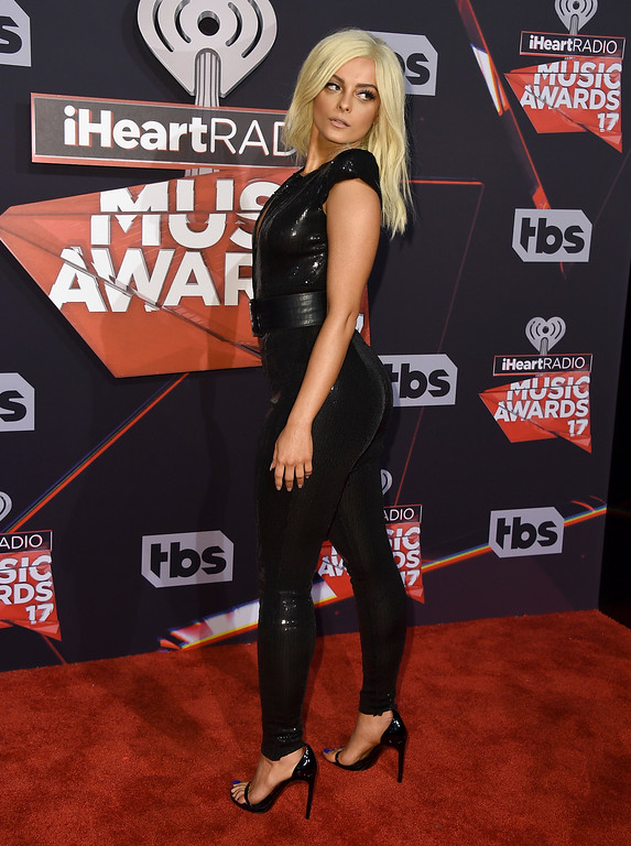 . Bebe Rexha arrives at the iHeartRadio Music Awards at the Forum on Sunday, March 5, 2017, in Inglewood, Calif. (Photo by Jordan Strauss/Invision/AP)