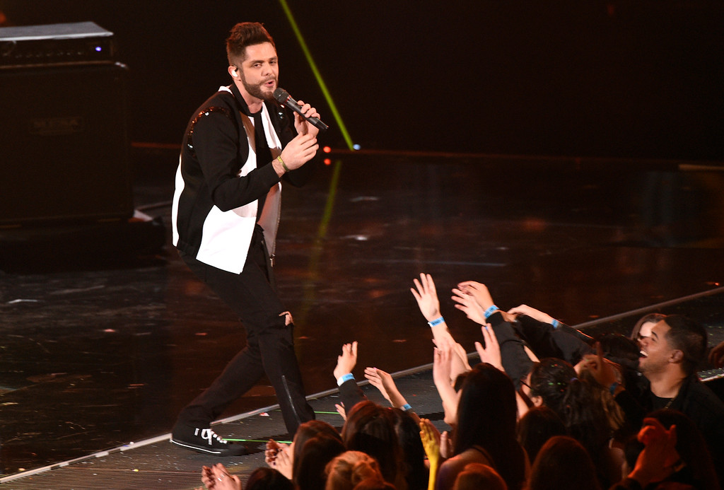 ". Thomas Rhett performs ""Star of the Show\"" at the iHeartRadio Music Awards at the Forum on Sunday, March 5, 2017, in Inglewood, Calif. (Photo by Chris Pizzello/Invision/AP)"
