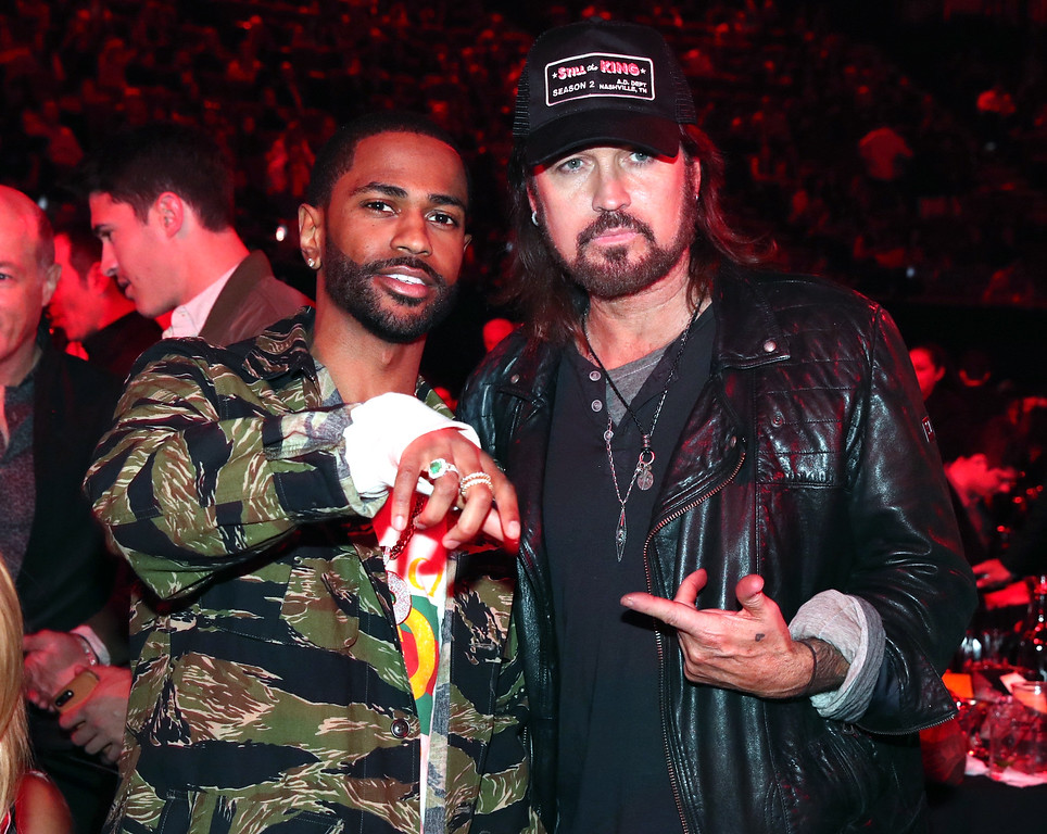 . INGLEWOOD, CA - MARCH 05:  Recording artists Big Sean (L) and Billy Ray Cyrus pose at the 2017 iHeartRadio Music Awards which broadcast live on Turner\'s TBS, TNT, and truTV at The Forum on March 5, 2017 in Inglewood, California.  (Photo by Christopher Polk/Getty Images for iHeartMedia)