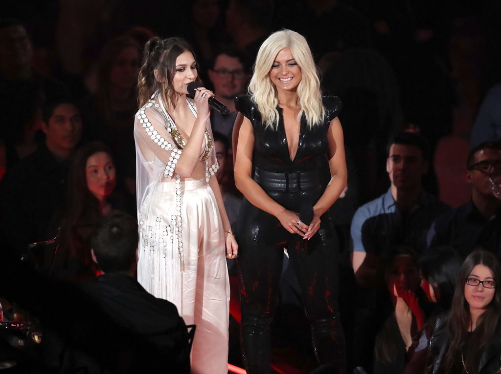 . INGLEWOOD, CA - MARCH 05:  Singers Daya (L) and Bebe Rexha speak onstage at the 2017 iHeartRadio Music Awards which broadcast live on Turner\'s TBS, TNT, and truTV at The Forum on March 5, 2017 in Inglewood, California.  (Photo by Rich Polk/Getty Images for iHeartMedia)