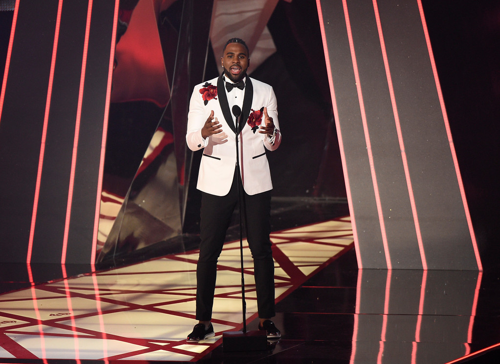 . Jason Derulo speaks at the iHeartRadio Music Awards at the Forum on Sunday, March 5, 2017, in Inglewood, Calif. (Photo by Chris Pizzello/Invision/AP)