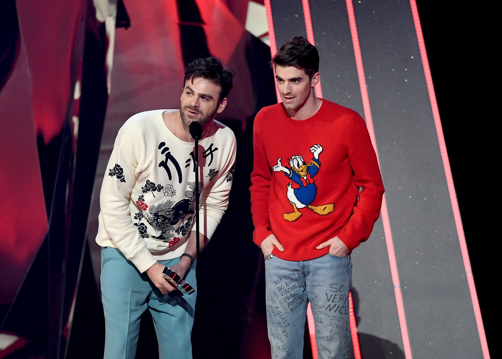 . INGLEWOOD, CA - MARCH 05:  Recording artists Andrew Taggart (L) and Alex Pall of music group The Chainsmokers accept Best New Artist onstage at the 2017 iHeartRadio Music Awards which broadcast live on Turner\'s TBS, TNT, and truTV at The Forum on March 5, 2017 in Inglewood, California.  (Photo by Kevin Winter/Getty Images for iHeartMedia)