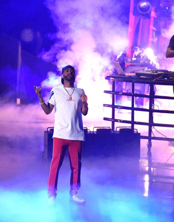 . Big Sean performs at the iHeartRadio Music Awards at the Forum on Sunday, March 5, 2017, in Inglewood, Calif. (Photo by Chris Pizzello/Invision/AP)