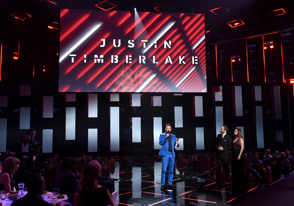 . Justin Timberlake accepts the iHeartRadio Innovator award on stage at the iHeartRadio Music Awards at The Shrine Auditorium on Sunday, March 29, 2015, in Los Angeles.  (Photo by John Shearer/Invision for iHeartRadio/AP Images)