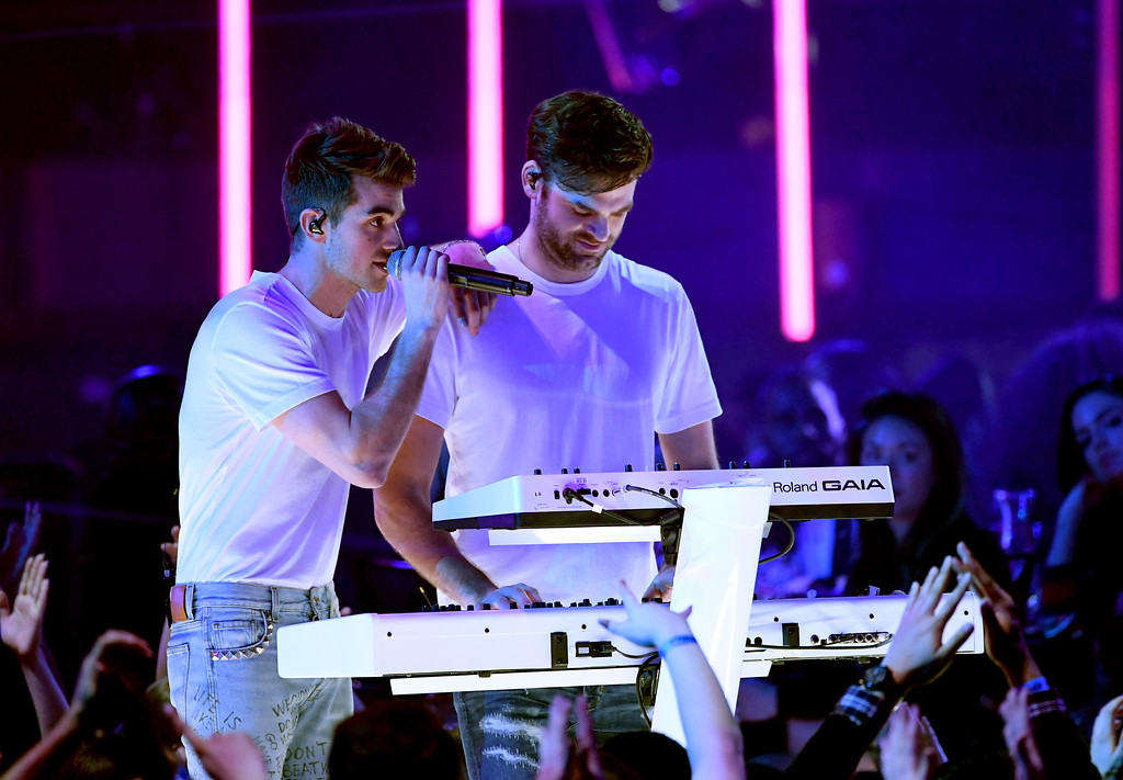 . INGLEWOOD, CA - MARCH 05:  Musicians Drew Taggart (L) and Alex Pall of The Chainsmokers perform onstage at the 2017 iHeartRadio Music Awards which broadcast live on Turner\'s TBS, TNT, and truTV at The Forum on March 5, 2017 in Inglewood, California.  (Photo by Kevin Winter/Getty Images for iHeartMedia)