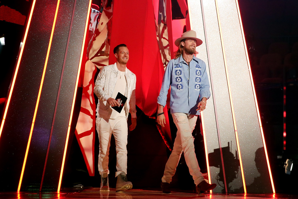 . INGLEWOOD, CA - MARCH 05:  Musicians Tyler Hubbard (L) and Brian Kelley of Florida Georgia Line speak onstage at the 2017 iHeartRadio Music Awards which broadcast live on Turner\'s TBS, TNT, and truTV at The Forum on March 5, 2017 in Inglewood, California.  (Photo by Christopher Polk/Getty Images for iHeartMedia)