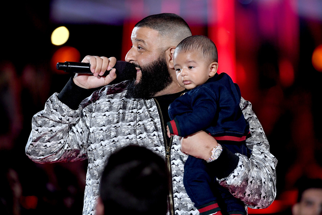 . INGLEWOOD, CA - MARCH 05:  DJ Khaled (L) speaks onstage with Asahd Tuck Khaled at the 2017 iHeartRadio Music Awards which broadcast live on Turner\'s TBS, TNT, and truTV at The Forum on March 5, 2017 in Inglewood, California.  (Photo by Kevin Winter/Getty Images for iHeartMedia)