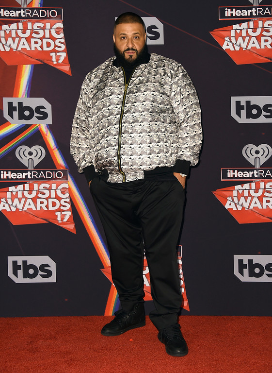 . DJ Khaled poses in the press room at the iHeartRadio Music Awards at the Forum on Sunday, March 5, 2017, in Inglewood, Calif. (Photo by Jordan Strauss/Invision/AP)