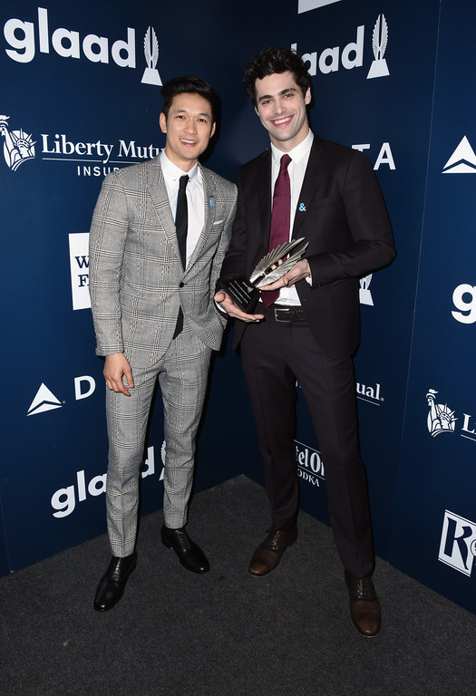 . BEVERLY HILLS, CA - APRIL 01:  Actors Harry Shum Jr. (L) and Matthew Daddario pose with the Outstanding Drama Series award for \'Shadowhunters\' during the 28th Annual GLAAD Media Awards in LA at The Beverly Hilton Hotel on April 1, 2017 in Beverly Hills, California.  (Photo by Vivien Killilea/Getty Images for GLAAD)