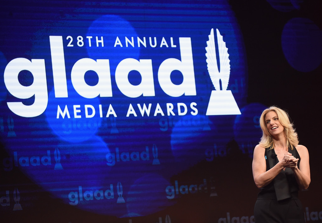 . BEVERLY HILLS, CA - APRIL 01:  GLAAD President & CEO Sarah Kate Ellis speaks onstage during the 28th Annual GLAAD Media Awards in LA at The Beverly Hilton Hotel on April 1, 2017 in Beverly Hills, California.  (Photo by Emma McIntyre/Getty Images for GLAAD)