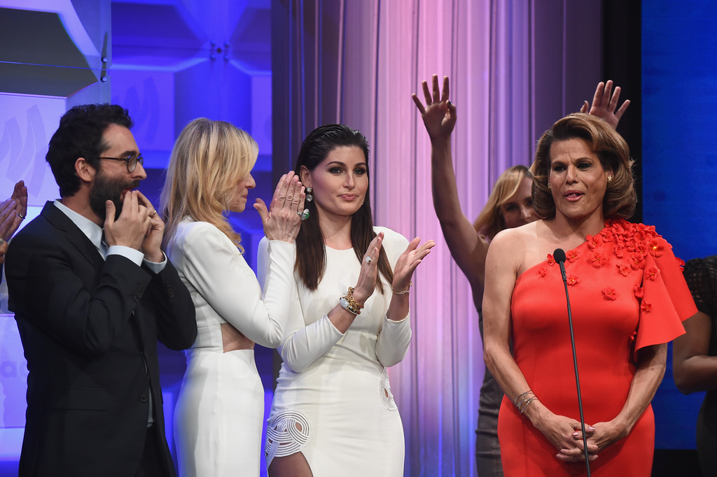 . BEVERLY HILLS, CA - APRIL 01:  (L-R) Actors Jay Duplass, Judith Light, Trace Lysette and Alexandra Billings accept the Outstanding Comedy Series award for \'Transparent\' onstage during the 28th Annual GLAAD Media Awards in LA at The Beverly Hilton Hotel on April 1, 2017 in Beverly Hills, California.  (Photo by Emma McIntyre/Getty Images for GLAAD)