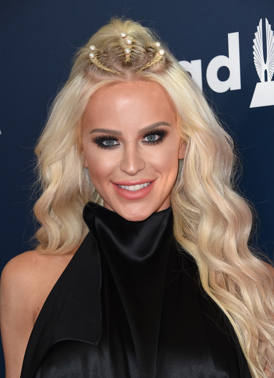 . Gigi Gorgeous attends the 28th annual GLAAD Media awards at the Beverly Hilton hotel in Beverly Hills, California,  April 1, 2017. (CHRIS DELMAS/AFP/Getty Images)