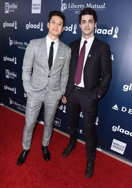 . BEVERLY HILLS, CA - APRIL 01: Actors Harry Shum Jr. (L) and Matthew Daddario attend the 28th Annual GLAAD Media Awards in LA at The Beverly Hilton Hotel on April 1, 2017 in Beverly Hills, California.  (Photo by Vivien Killilea/Getty Images for GLAAD)