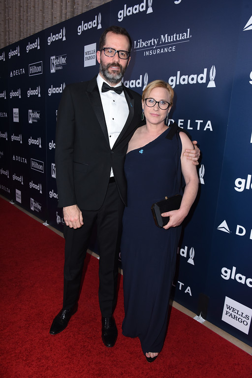 . BEVERLY HILLS, CA - APRIL 01: Artist Eric White (L) and actor Patricia Arquette attend the 28th Annual GLAAD Media Awards in LA at The Beverly Hilton Hotel on April 1, 2017 in Beverly Hills, California.  (Photo by Vivien Killilea/Getty Images for GLAAD)