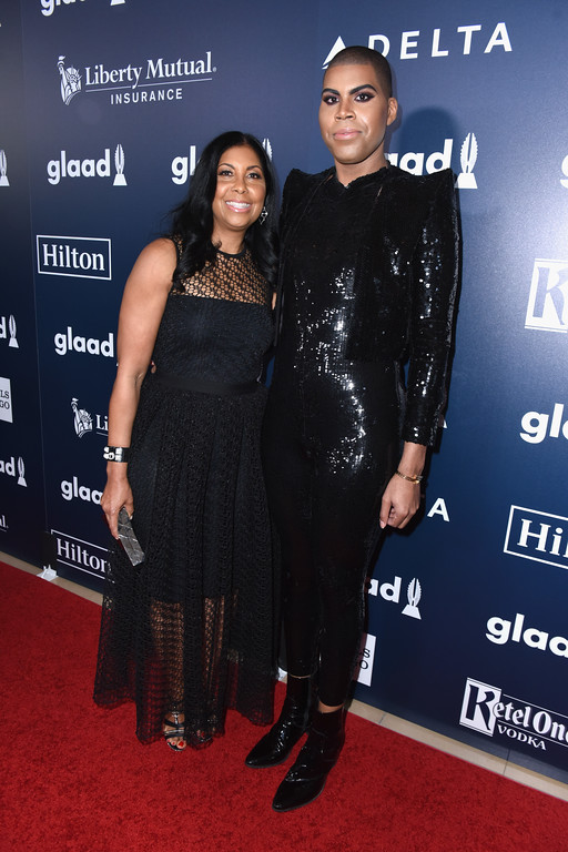 . BEVERLY HILLS, CA - APRIL 01: Cookie Johnson (L) and EJ Johnson attend the 28th Annual GLAAD Media Awards in LA at The Beverly Hilton Hotel on April 1, 2017 in Beverly Hills, California.  (Photo by Vivien Killilea/Getty Images for GLAAD)