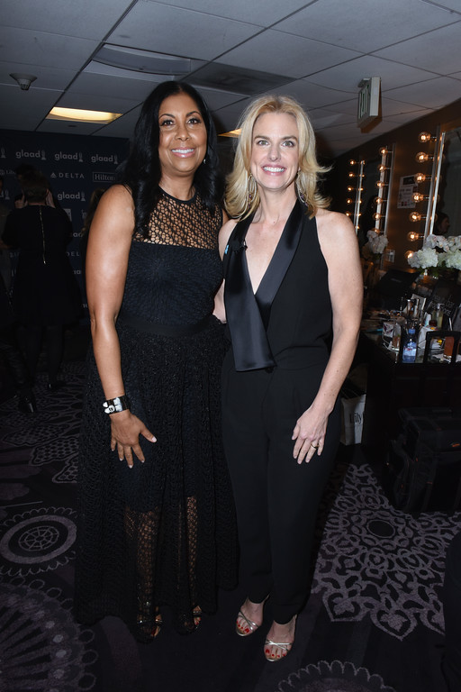 . BEVERLY HILLS, CA - APRIL 01:  GLAAD president & CEO Sarah Kate Ellis (R) and Cookie Johnson attend 28th Annual GLAAD Media Awards in LA at The Beverly Hilton Hotel on April 1, 2017 in Beverly Hills, California.  (Photo by Vivien Killilea/Getty Images for GLAAD)