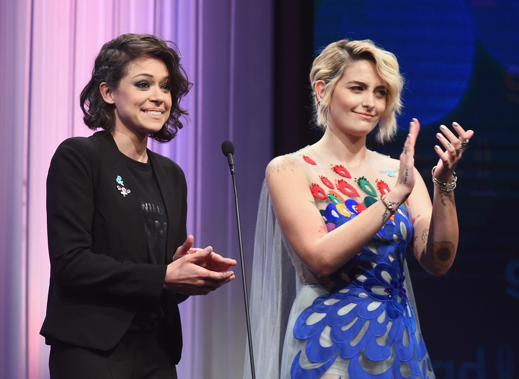 . BEVERLY HILLS, CA - APRIL 01:  Actors Tatiana Maslany (L) and Paris Jackson speak onstage during the 28th Annual GLAAD Media Awards in LA at The Beverly Hilton Hotel on April 1, 2017 in Beverly Hills, California.  (Photo by Emma McIntyre/Getty Images for GLAAD)