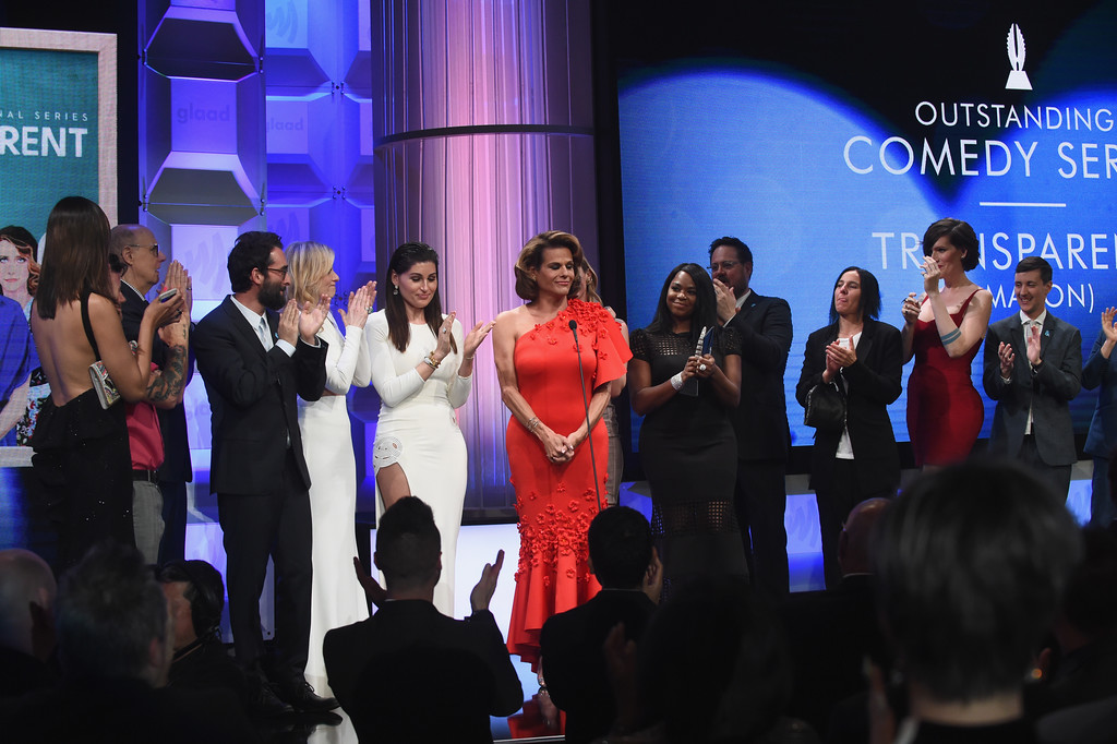 . BEVERLY HILLS, CA - APRIL 01: Cast & crew of \'Transparent\' accept the Outstanding Comedy Series award onstage during the 28th Annual GLAAD Media Awards in LA at The Beverly Hilton Hotel on April 1, 2017 in Beverly Hills, California.  (Photo by Emma McIntyre/Getty Images for GLAAD)