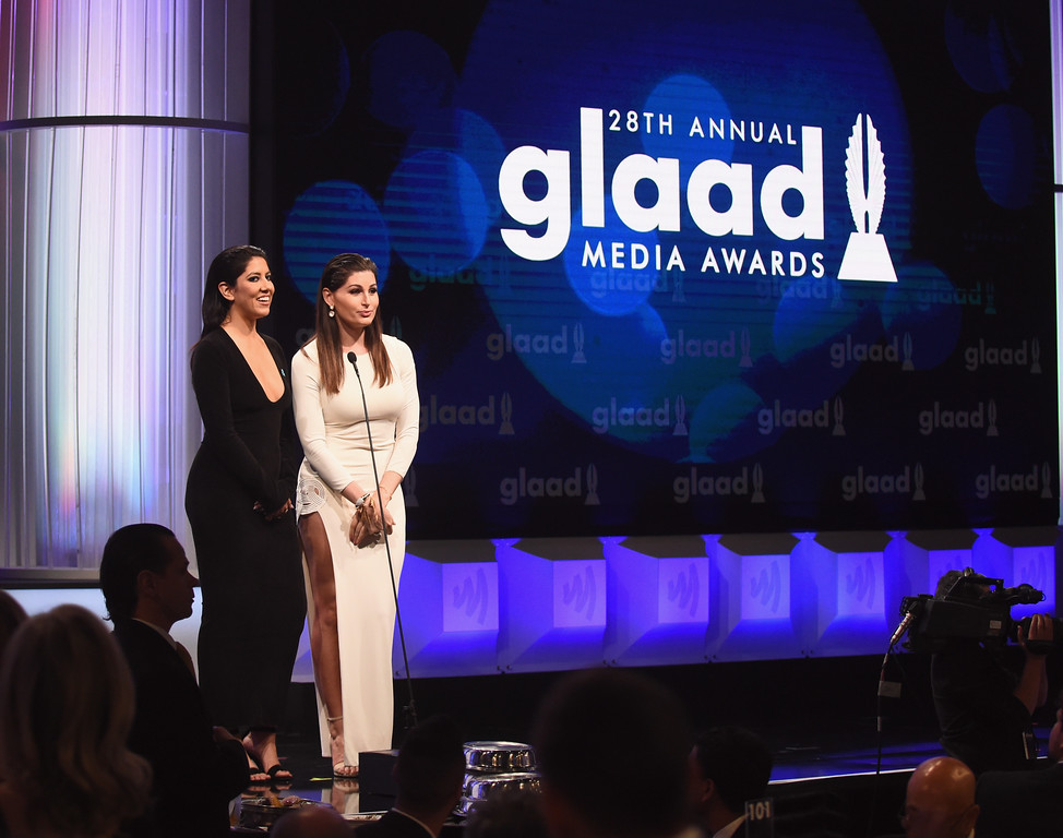 . BEVERLY HILLS, CA - APRIL 01:  Actors Stephanie Beatriz (L) and Trace Lysette speak onstage during the 28th Annual GLAAD Media Awards in LA at The Beverly Hilton Hotel on April 1, 2017 in Beverly Hills, California.  (Photo by Emma McIntyre/Getty Images for GLAAD)
