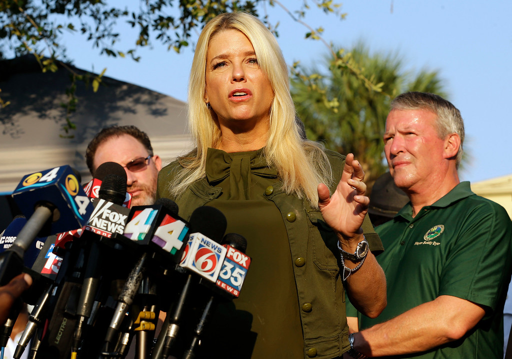 . Florida Attorney General Pam Bondi gives details about the fatal shootings at the Pulse Orlando nightclub during a media briefing Monday, June 13, 2016, in Orlando, Fla. (AP Photo/Chris O\'Meara)