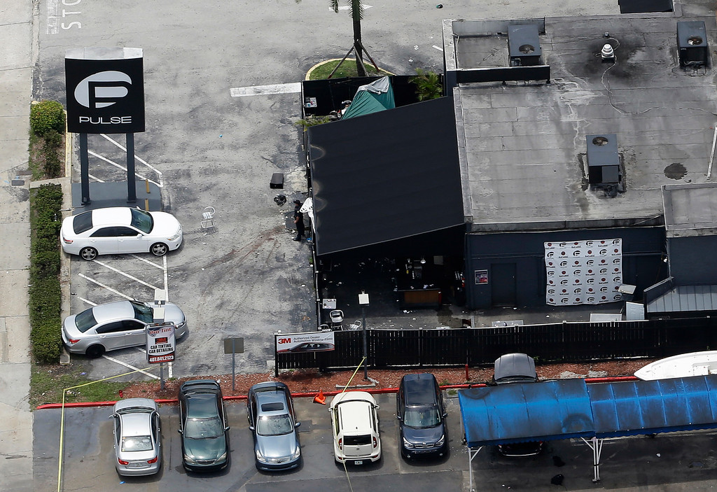 . This photo shows the Pulse nightclub following a fatal shooting Sunday, June 12, 2016, in Orlando, Fla. (AP Photo/Chris O\'Meara)
