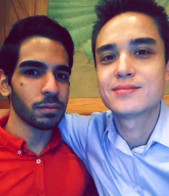 . This undated photo shows Christopher Andrew Leinonen, right, one of the people killed in the Pulse nightclub in Orlando, Fla., early Sunday, June 12, 2016. A gunman wielding an assault-type rifle and a handgun opened fire inside the nightclub, killing dozens in the worst mass shooting in modern U.S. history. The man at left is unidentified. (Facebook via AP)