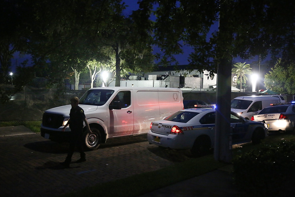 . ORLANDO, FL - JUNE 12:  A van carries bodies to the Medical Examiners office  from the mass shooting site at Pulse Nightclub where Omar Mateen allegedly killed at least 50 people on June 12, 2016 in Orlando, Florida. The mass shooting killed at least 50 people and injuring 53 others in what is the deadliest mass shooting in the country�s history.  (Photo by Joe Raedle/Getty Images)
