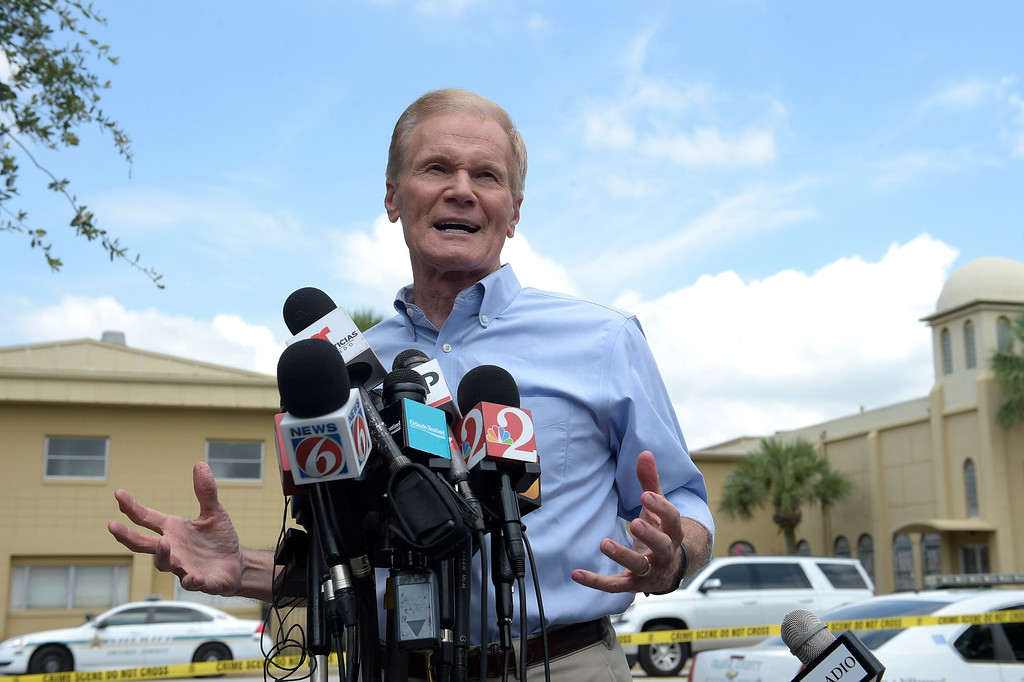 . Sen. Bill Nelson, D-Fla., addresses reporters during a news conference after a shooting involving multiple fatalities at a nightclub in Orlando, Fla., Sunday, June 12, 2016. (AP Photo/Phelan M. Ebenhack)